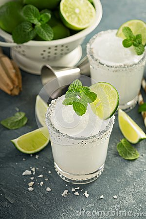 Free Frozen Lime And Mint Margarita Stock Images - 108792384