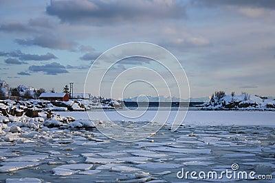 Frozen Lofoten s landscape