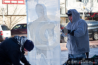 Frozen man in ice