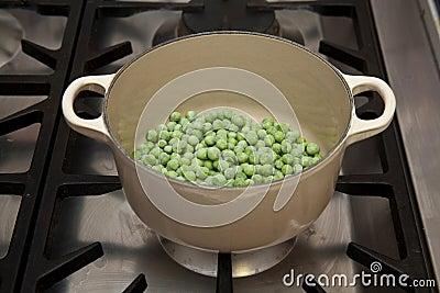 Frozen peas in pot