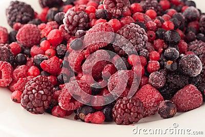 Frozen raspberries, blackberries, cranberries and