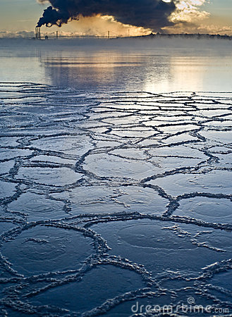 Free Frozen Sea Ice With Pollution In Background Stock Photos - 7976953