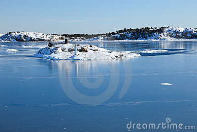 Frozen sea and islands