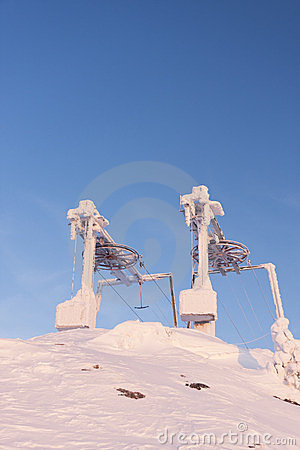 Frozen ski resort elevators