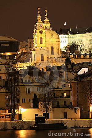 Frozen Snowy St. Nicholas  Cathedral in the Night
