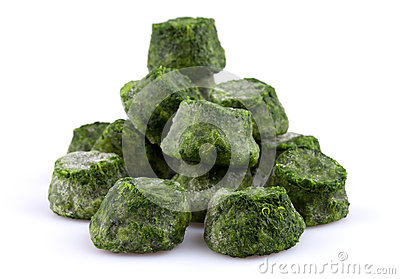 Frozen spinach close-up