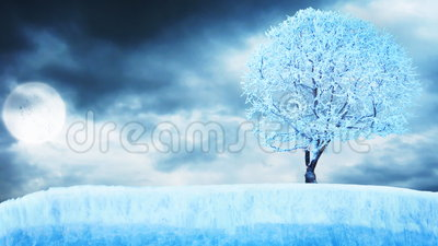 Frozen tree on ice under moon with clouds. On background