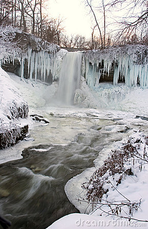 Free Frozen Waterfall At Sunset Stock Images - 384814