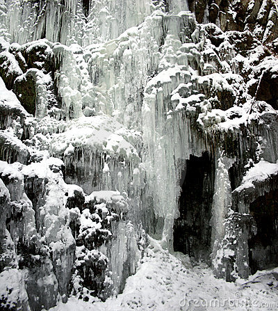 Frozen waterfall with icicles