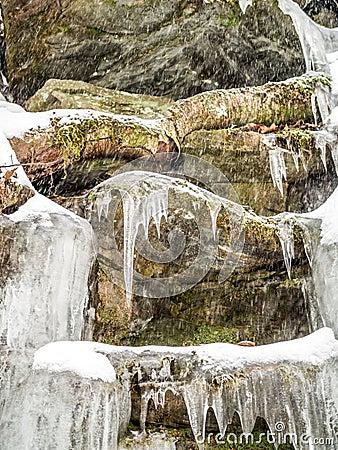 Free Frozen Waterfall In Ricketts Glen Park Stock Photos - 109517333