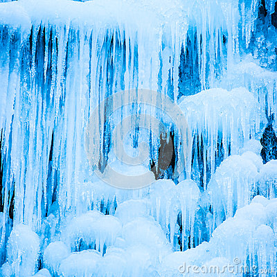 Free Frozen Waterfall Of Blue Icicles Stock Photography - 48772582
