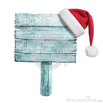 Free Frozen Wooden Sign With Red Santa S Hat Stock Images - 34382764