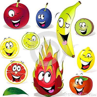 Fruchtkarikatur mit vielen Ausdrücken