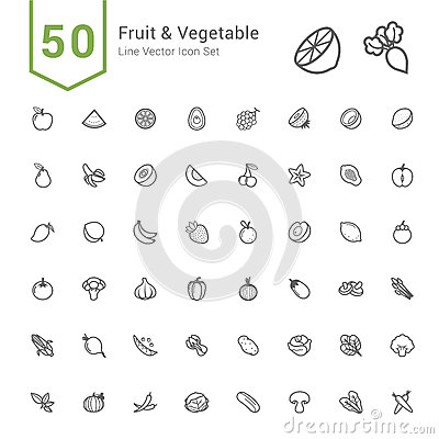 Free Fruit And Vegetable Icon Set. 50 Line Vector Icons. Stock Photography - 83521342