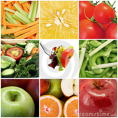 Free Fruit And Vegetables Collage Stock Photos - 9510333