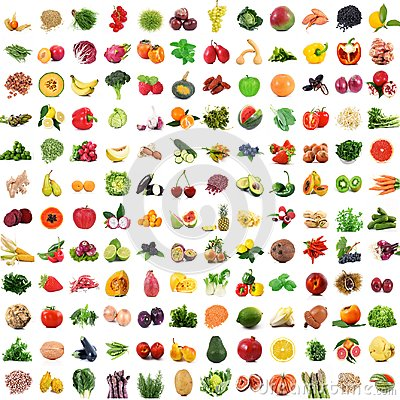 Free Fruit And Vegetables Collage On White Background Stock Photography - 106034572