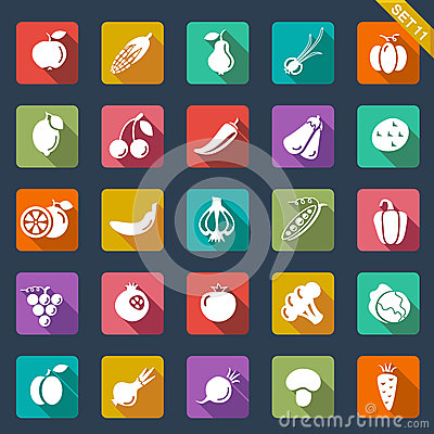 Free Fruit And Vegetables Icons - Flat Design Royalty Free Stock Image - 32985776