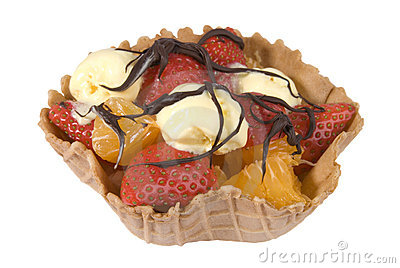 Fruit basket with chocolate sauce