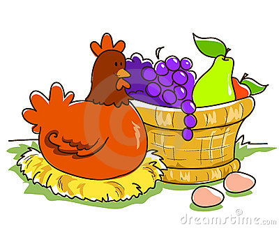 Fruit basket and hen
