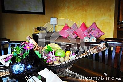 Fruit basket in hotel room