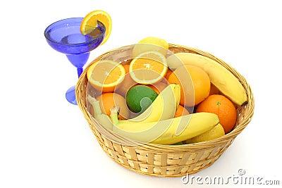 Fruit Basket Over White