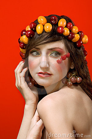 Fruit beauty woman portrait - vegetarian ideal