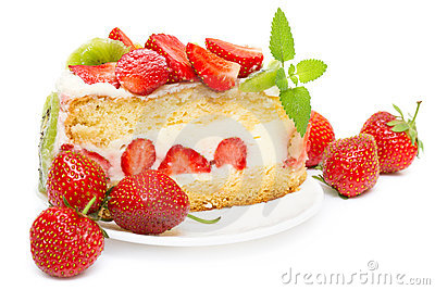 Fruit cake with strawberries and kiwi fruit
