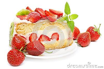 Fruit cake with strawberries and kiwi fruit
