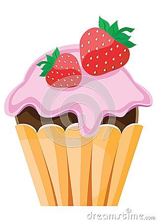 Fruit cake with strawberry