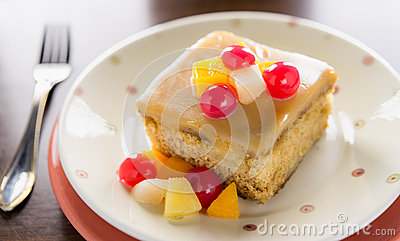 Fruit cake on table