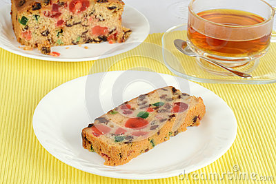 Fruit cake with tea