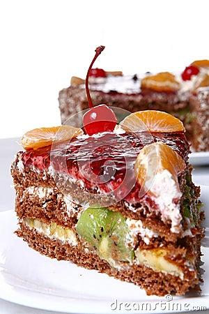 Free Fruit Cake With Desert Cherry Royalty Free Stock Photos - 8134158