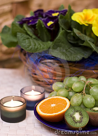 Fruit and candles composition