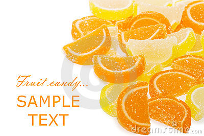 Fruit candy isolated on the white