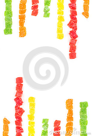 Fruit candy multi-colored on white