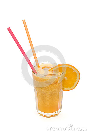 Fruit cocktail with orange isolated