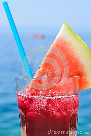 Free Fruit Cocktail With Water Melon Slice On A Beach Stock Images - 32517754