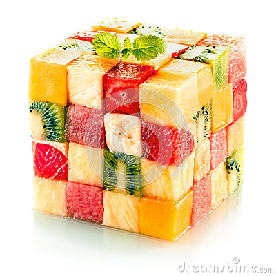 Free Fruit Cube With Assorted Tropical Fruit Stock Image - 39390911