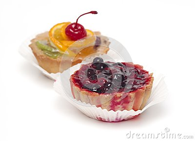 Fruit cupcake with cherry