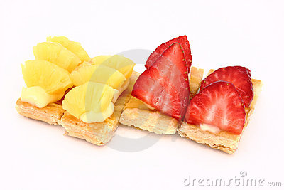 Fruit dessert of pineapple and strawberries