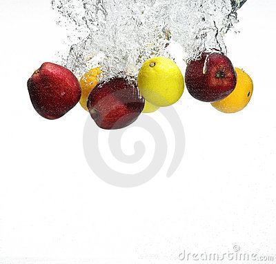 Fruit falling in water