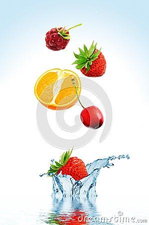 Fruit falling in water
