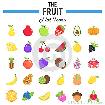 Free Fruit Flat Icon Set, Food Symbols Collection Royalty Free Stock Photography - 94661277