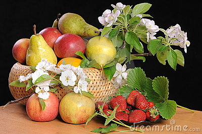 Fruit and flowers.