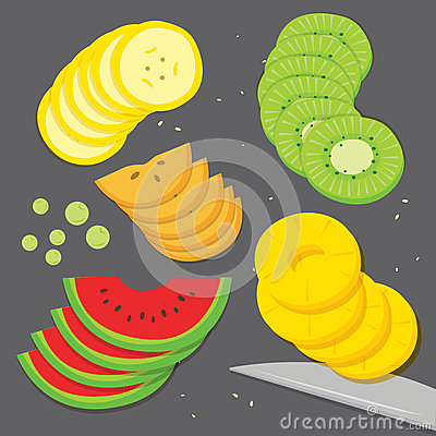 Free Fruit Food Cook Banana Grape Kiwi Pineapple Watermelon Persimmon Fresh Piece Slice Cartoon Vector Royalty Free Stock Photography - 61787887