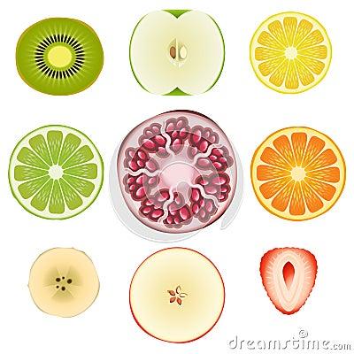 Free Fruit Halves Set One Stock Images - 25433054