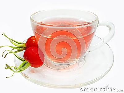 Fruit healthy tea with wild rose berries hip