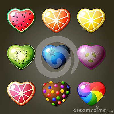 Free Fruit Hearts For Match Three Game Stock Photos - 57733283