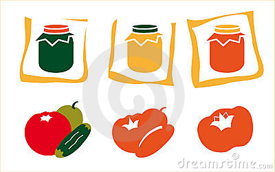 Fruit and jar icons