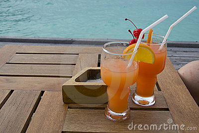 Fruit Juice by the beach in Maldives.